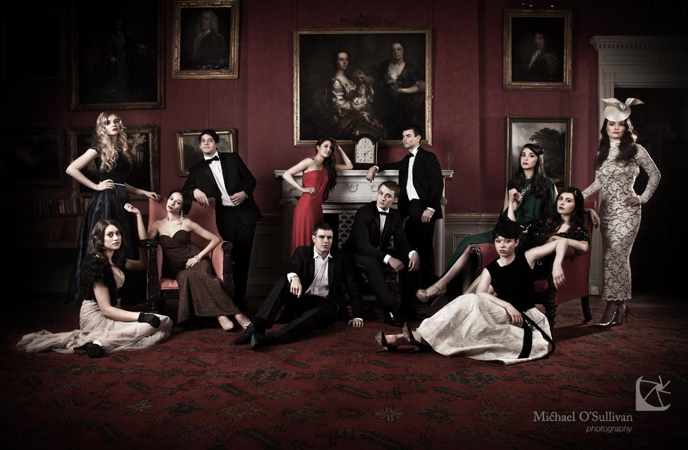 Above: Contestants Leah McNamara, Emma Tagney, Amber Shrestha, Vafa Lightfoot, Ava Brazier, Cormac Crowley, Robert Clarke, Patrick Leahy, Stacey Walsh, Rachel O'Donnell, Jennifer Murphy, Sheila Day, all competing to be Pulse Model & Event Management/UCC's Next top model for 2013 pictured in a Hollywood inspired Group Photo shoot at Fota House. Styling by Nessa Cotter assisted by Graeme Cross, Make up by Noreen O'Connor assisted by Denise Feeney, Hair by Eileen McGrath & The Edge Hair Design Team. Ladies' Fashions provided by Miss Daisy Blue, The Dress Bar & House of Hepburn, Cork, and Men's Suits from Lapel 1865.
